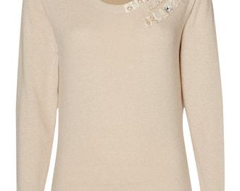 Cream embellished Merino wool jumper