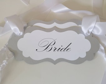 Bride and Groom Wedding Chair Signs, Elegant Vintage Glamour Wedding Decor in all of my Card Stock Colors, Vintage Wedding Decor