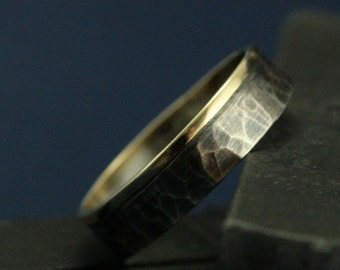 Yellow Gold and Silver Wedding Ring - The Centurion Band - Solid 14K Gold and Sterling Silver Ring - Hammered Men's Ring-Rustic Wedding Band