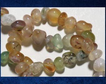 """Agate, Mixed Color - 14"""" strand small pebble. Approx 60  gemstone stone beads. #AGAT-477"""