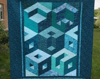 Turquoise Cubic Designer Modern Lap Quilt