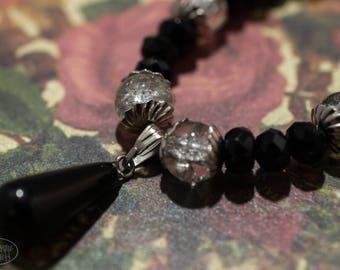 Black Crystal Necklace with Obsidian Tear Drop