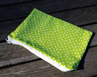 Green Polka Dot make up bag. Make up purse. Make up clutch. Pencil Case