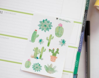 Cacti / cactus - decorative watercolour planner stickers suitable for any planner -102-