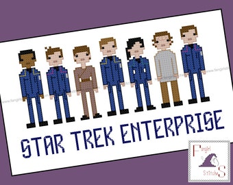 Star Trek Parody Enterprise Cast Cross Stitch - PDF Pattern - INSTANT DOWNLOAD