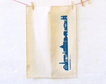 WASHINGTON Dish towel, Washington print blue, Washington Tea Towel, Washington Kitchen Flour sack, Washington gift, hostess gift, 44spaces