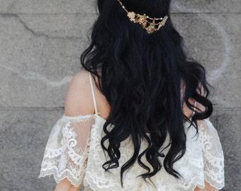 Mixed Metal Halo Headpiece Bohemian Unique Bridal Circlet Boho Bride Draping Wedding Headband reverse tiara head chain hair jewelry pins 202