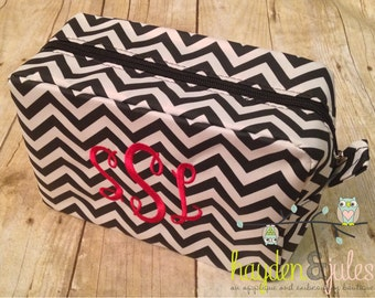 Red and Black Monogrammed Chevron Cosmetic Bag