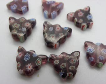 20 beads, millifiori 12 blue brown red multicolor x9mm cats