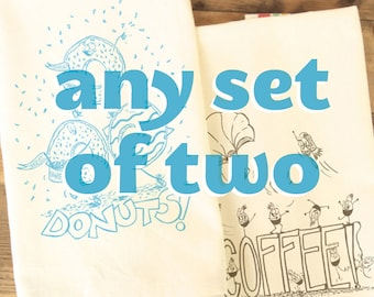 Funny Tea towel set of 2 two - make your own set of funny dish towel funny kitchen towels food theme hostess gift funny cooking gift basket