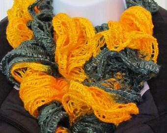 Knitted  ruffle scarf done in sashay yarn.