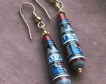 Hand Painted Porcelain Elongated Teardrop Beaded Earrings in Incan Designs, Five Combinations