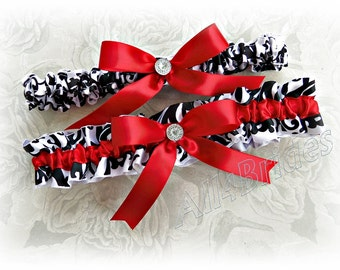 Red and damask weddings bridal garter set - bridal accessories - wedding leg garter belt set.