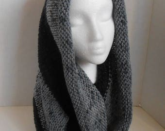 Hooded Cowl Scarf Black Grey, Infinity Scarves, Hand Knit Hooded Scarves, Circle Scarf