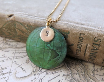 World Map Necklace, Travel Gift, Globe Necklace, Personalized Gift, Wanderlust, Graduation Gift, Verdigris Map, Travel Jewelry