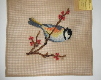 Chickadee Preworked Needlepoint Canvas, 12 x 12 inch Monica Imports Chickadee on a Branch, Reduced Price