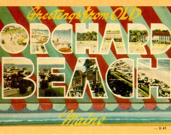 Vintage 40s Post Card - Maine Post Card - Old Orchard Beach Postcard - The Pier - Linen - OOB - Saco - Vintage Maine Post Card Vintage Beach