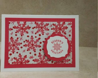 Snowflake Note Cards, Blank Note Cards, Red and White Note Cards, Christmas Stationery