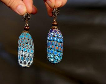 Oval Earrings Blue Boho Earrings Long Dangle Earrings Hippie earrings Tribal earrings Ethnic earrings Boho jewelry Navy Blue Earrings