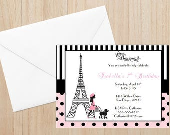 Paris Invitation (Set of 12), Paris Theme Birthday, Paris Themed Invitations, Eiffel Tower Invitation, Paris Party, Paris Thank You Cards