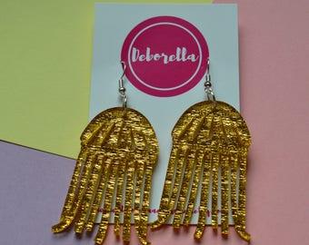 Gold Galactic Acrylic Jellyfish Earrings