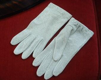 LAME de plata vintage' guantes de las señoras del estiramiento de Nylon y Metal clásicos tamaño 7 clásico de 1940