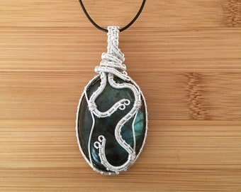 Take Me In - Silver wire snake wrapped blue green oval labradorite pendant necklace