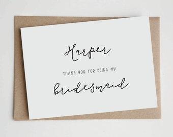 Personalised Thank You Bridal Cards | Wedding, Custom Card, Modern, Simple, Bridesmaid, Maid of Honour, Flower Girl | Minimalist Typopgraphy