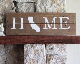 California HOME Sign, Reclaimed Wood Sign, CA Home Sign, California Artwork, Rustic California Sign, Wooden California, Wood California Sign