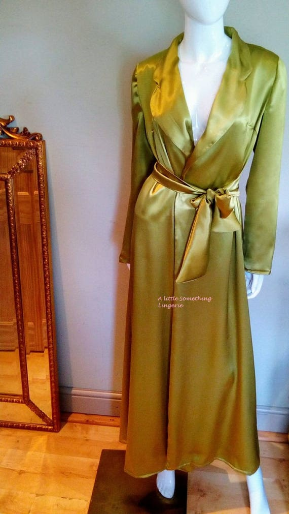 grüne Seide Kleid lang Seide Morgenmantel Frauen Seide