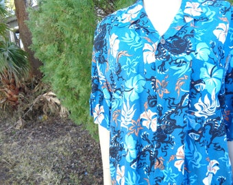 VINTAGE 80s PineApple Connection Rayon short sleeves mens beach shirt by jeansVintageCloset
