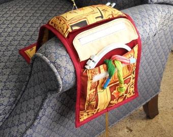 Burgundy Wood Cut Armchair Caddy Sewing and Handwork Organizer SALE