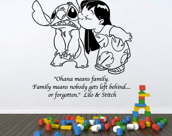 """Lilo and Stitch, Ohana means family Disney wall decal, 21"""" wide x 25"""" tall"""