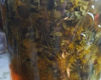 Dandelion Flower Infused Vinegar/Wildcrafted/Wild Harvested/Herbalist Healing/alchemy/organic/natural gifts/healing