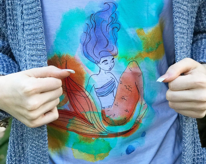 Watercolor Mermaid V-neck tank