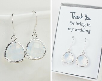 White Opal Quartz Silver Earrings, White Opal Silver Earrings, Opal Silver Earrings, Bridesmaid Earrings, Bridesmaid Gift, Wedding Jewelry