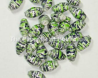 Paper Beads, Loose Handmade Supplies Barrel Seahawks Words