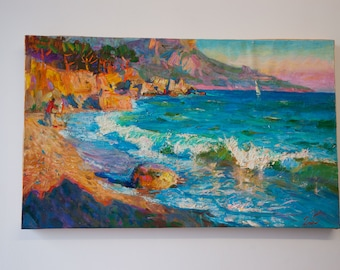 Seaside - One of a Kind Original Large Abstract Painting On Canvas by Gleb