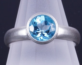 Swiss Blue Topaz 7mm Round Bezel Sterling Silver Ring