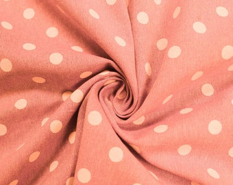 Peach Polka Dot  58'' Chambray Cotton Fabric by the Yard - Style 3270