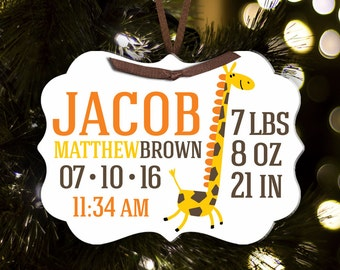 Birth announcement Christmas ornament with name and birth stats - sweet baby welcome gift BABOG
