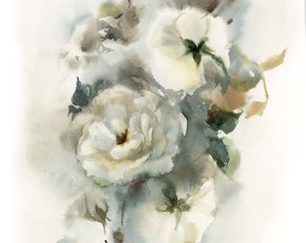 White Roses Original Watercolor Painting, Floral Botanical Watercolour Art, Rose Art, Painting of Roses