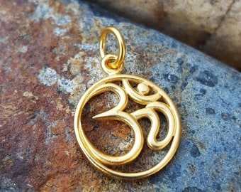 ON SALE TODAY Gold Om Charm - Yoga Jewelry - High Quality 24K Gold Over Bronze Aum Ohm Necklace