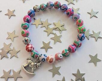 Rocking Horse Bracelet, Jewellrey, Fimo Beads, Gift, Baby Shower, New Mum.