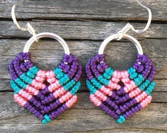 SALE Micro-Macrame Dangle Earrings - Pink, Purple and Teal