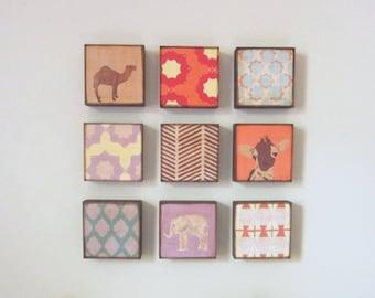 moroccan nursery art, choose 9 art block prints, animal prints, nursery decor, children wall decor, animal prints, geometric prints, nursery