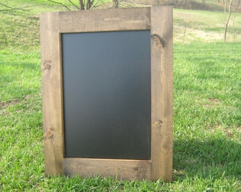 Hanging chalkboard dark walnut stained chalk board rustic wedding home office data center organization