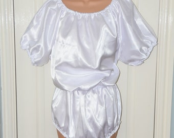 AB double satin rompers,  silky slithery all-in-one teddy, silky soft lounging wear, Adult Baby (AB) maybe?, Sissy Lingerie - FI