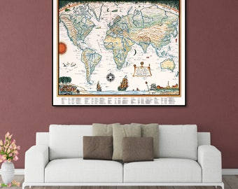 Vintage World Map, Antique Map Of The World, Vintage Map Wall Print, World Map Poster, World Map Print, Old Map Of The World, Pictorial Map