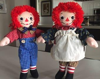 Raggedy Ann and  Andy Cloth Dolls/PAIR/Hasbro 1997 Rag Doll/ Johnny Gruelle Doll/ Knickerbocker/ By Gatormom13